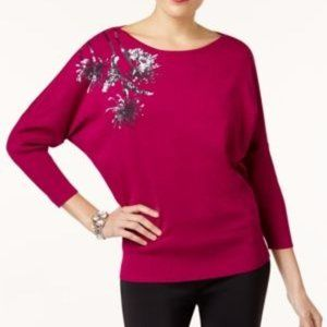 !!~ Magenta Sequined Dolman-Sleeve Sweater ~!!
